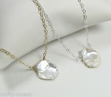 Keshi Pearl Necklace, Pearl Block Necklace, 14kt Gold Filled or Sterling Silver