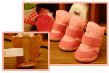 Lovely Warm Dog Shoes Cotton Pet Shoes Snow Boots Bottes Shoes Pink Brown 5 Size