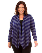 Womens Plus XL/1X,2X,3X Nay Blue & Silver Stripe Lace Back Open Front Cardigan