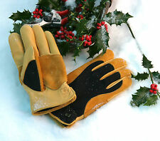 Gold Leaf Winter Touch RHS endorsed leather gardening gloves