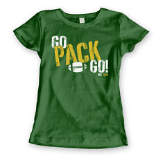 GO PACK GO retro green bay football packers cheese head WOMENS FOREST T-SHIRT