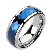 Tungsten Carbide Band Multi-Faceted Blue Prism Spinning Center Men's Ring