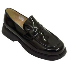 WOMENS BLACK PATENT LEATHER LOAFERS SLIP-ON FLAT BROGUES LADIES SHOES SIZES 2-8