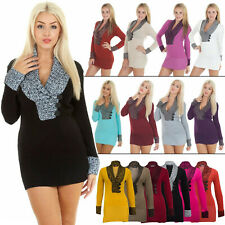 New Ladies Womens Knitted Long Sleeve V Neck Jumper Dress size 8 10 14 S M L XL