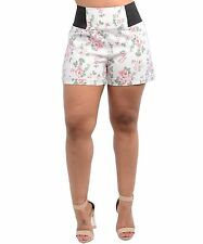 WOMENS PLUS SIZE CLOTHING SEXY CREAM SHORTS WITH A PINK ROSE DESIGN