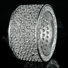 18K White Gold 11mm Silver ETERNITY Wedding Band MICROPAVE CZ Iced Out Mens Ring