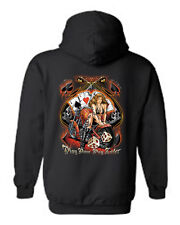 MEN'S BIKER PULLOVER HOODIE Play Now Pay Later TATTOO MOTORCYCLE BABE ACES S-5X