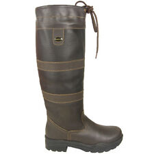LADIES HKM LONG RIDING WALKING STABLE BROWN LEATHER COUNTRY BOOTS SIZE UK 3 - 10