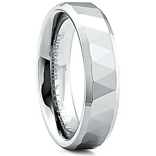 Men's 6mm Wide Tungsten Carbide Band Comfort Fit Ring Triangle Cuts - TCR020