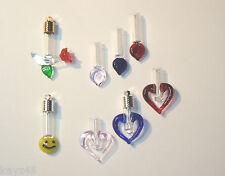 Keepsake glass heart, rose, smiley Vial pendant locket diy Ash URN Name on Rice