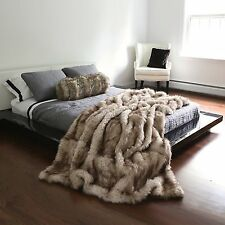 Luxurious Long Hair Champagne Fox Faux Fur Throw Blanket Sofa Bed Animal Options