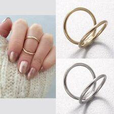 Shiny Double Thin Lines Row Jaws Top of Finger Midi Tip Above The Knuckle Ring