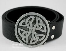 Mens Boys Western Irish Celtic Gothic Round Knot Fashion Leather Belt Buckle New