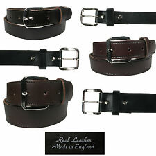 "Mens Full Leather Belt for Trousers and Jeans, 3 widths and sizes 28-48"" Waist"