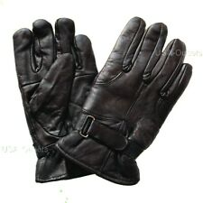 NEW MENS GENUINE LEATHER MOTORCYCLE WINTER DRIVING GLOVES w/ EASY CLOSURE - K1C