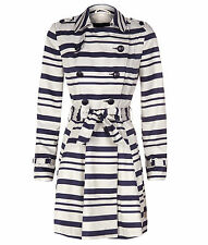 PRIMARK ATMOSPHERE STYLISH NAVY STRIPED TRENCH COAT BELTED MAC-SIZE 8 -18-BNWT