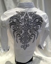 Victorious Cross Tribal Button Down Dress Shirt White Roar With Excitement SH380