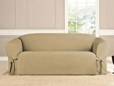 3 PC MICRO-SUEDE FURNITURE SLIPCOVER SOFA LOVESEAT CHAIR COUCH COVERS, TAUPE
