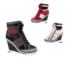 NEW Women High Top Lace Up Wedge Heel Sneakers Ankle Boots Booties Shoes
