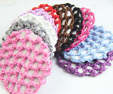 1 Pcs Bun Cover Snood Hair Net Ballet Dance Skating Crochet Beautiful 10 Color