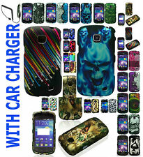Car Charger+Rubber Feel Hard Case For Verizon Samsung Illusion SCH-i110 Phone