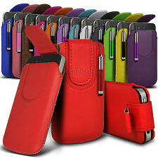 Leather PU Magnetic Pull tab Pouch Skin Case & Stylus For Various ZTE Phones