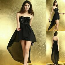 Sexy Strapless Sequin High Low Cocktail Dance Party Formal Club Prom Dress Women