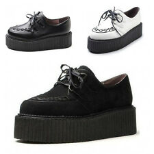 Fashion Women's Faux Suede Lace Up Punk High Platform Flat Creeper Shoes AAA