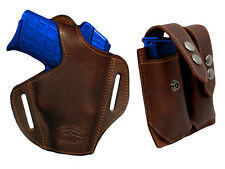 NEW Barsony Brown Leather Pancake Holster+Dbl Mag Pouch Ruger Kimber Comp 9mm 40