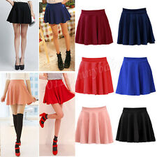 New Sexy Women Sweet Stretch Waist Pleated Jersey Plain Skater Flared Mini Skirt