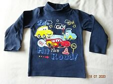 DISNEY PIXAR CARS COTTON T-SHIRT TOP NAVY BLUE LONG SLEEVE PRESS STUD BACK