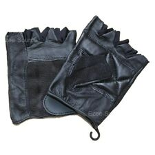 MENS LEATHER DRIVING GYM FINGERLESS STRETCHABLE GLOVES w/ EASY CLOSURE - K1E