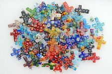 Wholesale In Bulk Flower Millefiori Glass Cross Silver Plated Beads Pendants New