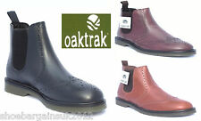Men Oaktrak Belper Leather Black Chesnut Bordo Brogue Chelsea Boots Size 7-11