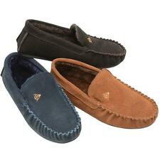MENS LEATHER SLIPPERS REAL SUEDE DUNLOP WARM FUR SLIP ON MOCCASINS SHOES SIZE