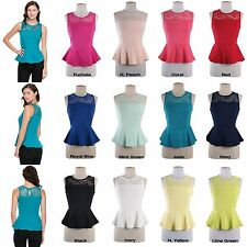 Lace Crochet Fitted Peplum Tank Top Sleeveless Sexy Solid & Floral Shirt Blouse