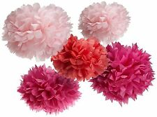 """10 x Large 10"""" Pink Tissue Paper PomPoms Girl Party Decoration Christmas Wedding"""