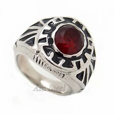 Men's Classic Silver Ruby Red Cubic Zirconia 316L Solid Stainless Steel Ring