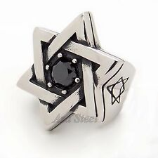 Huge Men Jewish Silver Star Of David Black CZ 316L Stainless Steel Ring