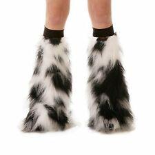 White Black Fluffy Boot Cover Furry Leg Warmers Gogo Fluffies Black Bands