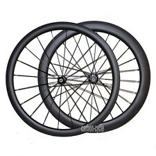 Clincher 40mm Front 56mm Rear Wheel Set Carbon Road Bicycle 27mm Rim Wide Black