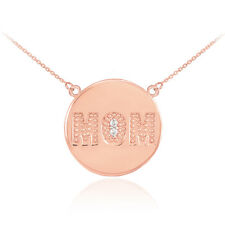 14k Rose Gold MOM Script Disc Necklace with Diamonds Mother's Day Gift