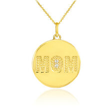 14k Gold MOM Script Disc Single Mounted Pendant Necklace Mother's Day Gift