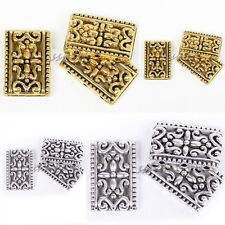 Antique Silver/Golden Tibetan Silver 3-3 Hole Rectangle Charms Spacer Beads