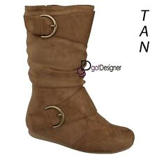 NEW Womens Shoes Foldable Knee High Mid Calf Slouch Boots Comfort Casual Flat