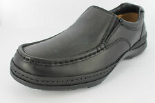 MENS CLARKS BLACK LEATHER SLIP ON LINE MOVE LOAFER SHOES UK SIZE 7 FITTING H