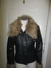 Members Only Faux Leather and Faux Fur Trim Coat Black NWT