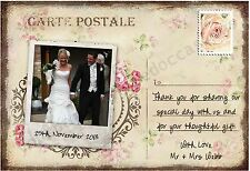 PERSONALISED VINTAGE CHIC POSTCARD WEDDING THANK YOU CARDS x 10 -SHABBY CHIC