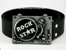 Hot ROCK STAR Classic Recoed Player DJ Turn Table Muisc Buckle Leather Belt Mens