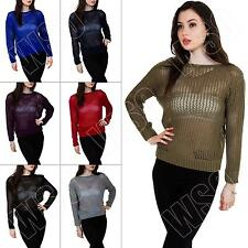 New Ladies Womens Fishnet Crochet Knitted Long Sleeve Jumper Top Size S M L XL